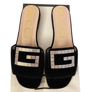 Gucci Velvet Crystal G Slides