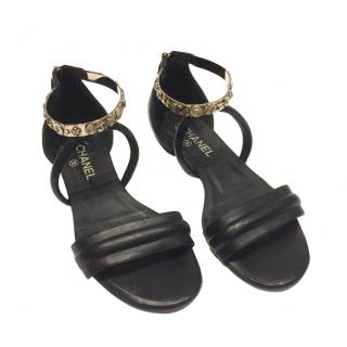 Chanel Medallion Strap Leather Flat Sandals