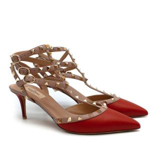 Valentino Red/Poudre Rockstud Caged Pump 65mm