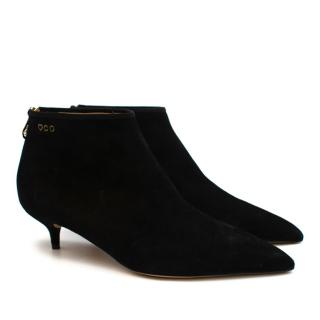 Charlotte Olympia Black Suede Kitten Heel Ankle Boots