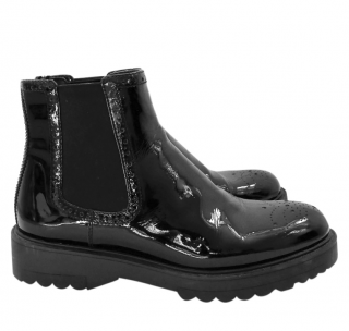 Prada Black Patent Leather Chelsea Boots