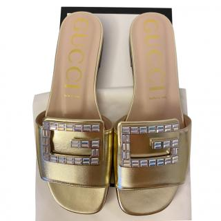 Gucci Gold Leather Crystal G Slides