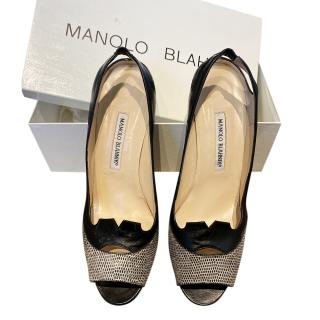 Manolo Blahnik Black Leather & Snakeskin Slingback Sandals