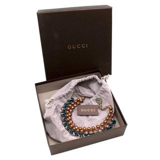 Gucci Faux Pearl & Crystal Tiered Collar Necklace