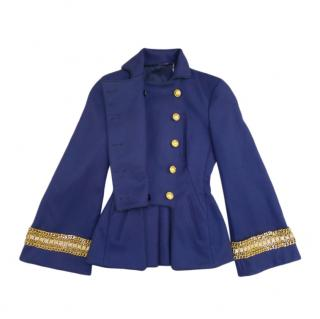 Alexander McQueen Blue Military Double Breasted Jacket
