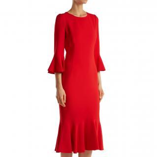 Dolce & Gabbana Ruffle Trim Cady Midi Dress