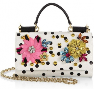 Dolce & Gabbana White Polka Dot Embellished Leather Wallet on Chain