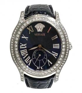 Versace Oval Medusa 40mm Diamond Watch with Croco Strap