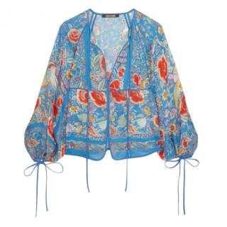 Roberto Cavalli Blue Silk Printed Blouse