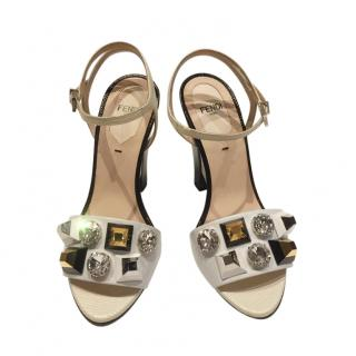 Fendi White Leather Studded Sandals