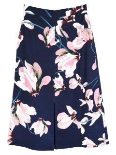 Erdem Blue Floral Print Canvas A-Line Skirt