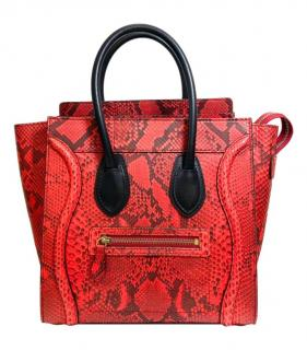 Celine Red Python Luggage Tote