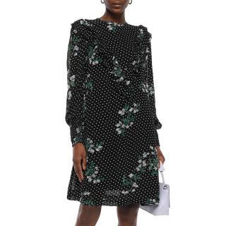 Ganni Floral Polka Dot Georgette Rometty Dress
