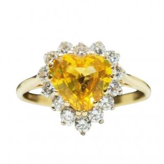 Bespoke 18ct Yellow Gold Diamond & Yellow Sapphire Ring