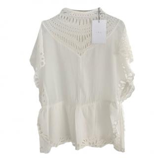 Iro Ivory Embroidered High Neck Top