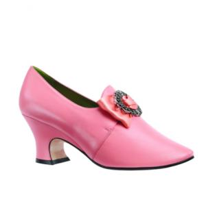 Gucci Bright Peach Leather Pumps with Satin/Crystal Bow