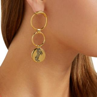 Chloe Gold Tone Double Hoop Emoji Pendant Earrings
