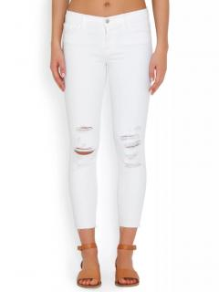 J Brand White Distressed Skinny Jeans