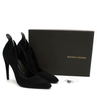 Bottega Veneta Runway Black Suede Flame Pumps