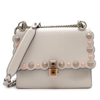 Fendi White Leather Small Kan I Studded Bag