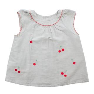 Bonpoint Grey Linen & Cotton Blend Hand Embroidered Cherry Top