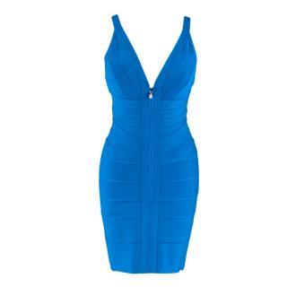 Herve Leger Blue Zip Front Pasha Bandage Mini Dress