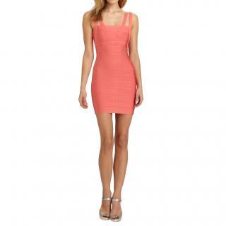 Herve Leger Coral Knit Zinnia Mini Dress