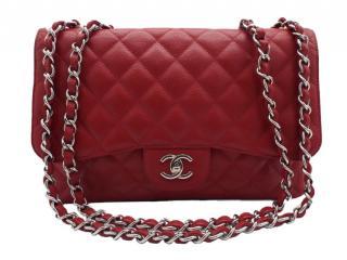 Chanel Red Grained Calfskin Jumbo Flap Bag