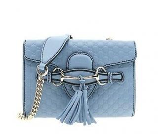 Gucci Mineral Blue Micro Guccissima Mini Emily Crossbody Bag