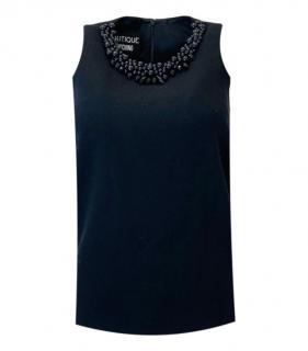 Boutique Moschino Virgin Wool Beaded Sleeveless Top