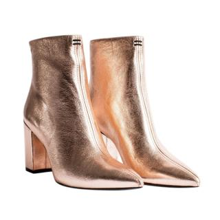 Zadig & Voltaire Rose Gold Leather Ankle Boots