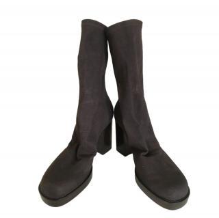 Rick Owens Raisin Stretch Suede Platform Sock Boots
