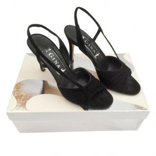 Gina Black Suede Serena Slingback Sandals