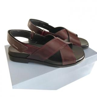 Prada Burgundy Glossy Leather Sandals