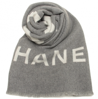 Chanel grey & ivory reversible cashmere stole
