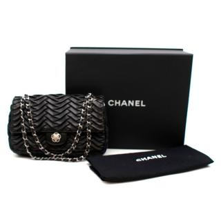 Chanel Black Lambskin Pleated Leather Single Flap Bag