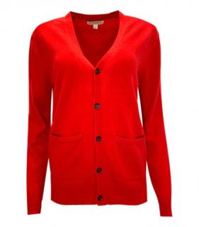 Burberry red cashmere knit cardigan