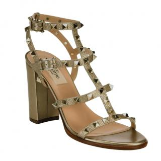 Valentino Gold Rockstud Caged Sandals