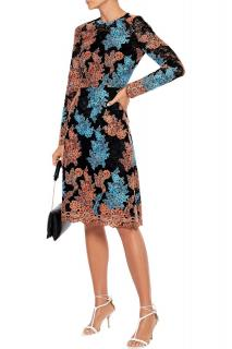 Dolce & Gabbana Embroidered Floral Corded Lace Scalloped Dress