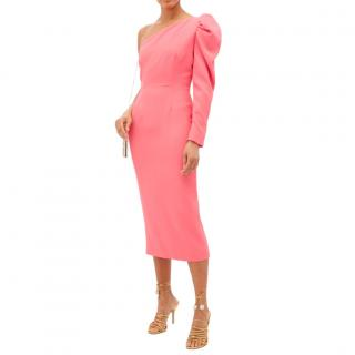 Racil Puff Sleeve One Shoulder Rose Pink Midi Dress