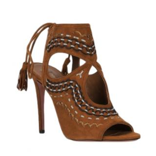 Aquazzura Tan Sexy Thing Embroidered Sandals