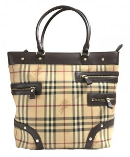 Burberry Vintage Haymarket Check Shoulder Bag Tote
