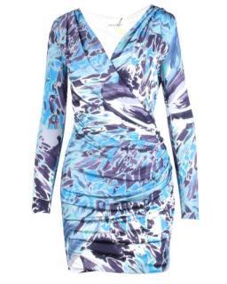 Emilio Pucci Blue Silk Wrap Effect Dress