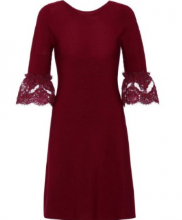 Oscar De La Renta Burgundy Merino Wool Dress