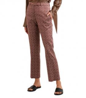 Etro 44 Jacquard Antique Rose Crop Trousers
