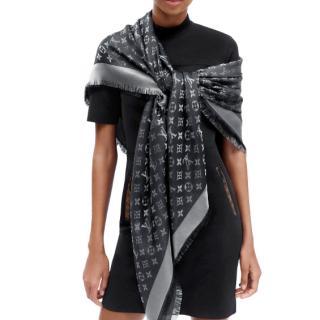 Louis Vuitton Wool & Silk Blend Monogram Shine Shawl