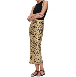 Anine Bing Painterly Leo Silk Bar Skirt