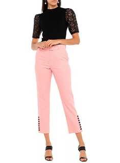 Racil Pink Wool Cropped Button Detail pants