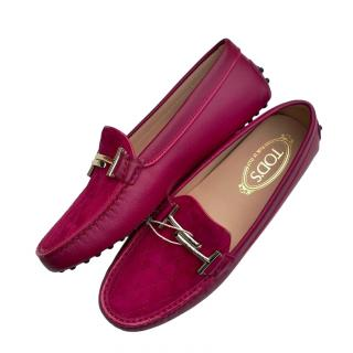 Tod's Plum Leather Doppia Loafers
