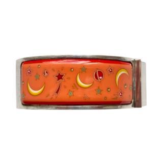 Hermes Sterling Silver Vintage Loquet Enamel Bracelet